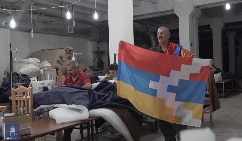 Sleeping bags and clothes for soldiers are sewn in Artsakh shelters