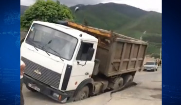 Truck buried deep in ground in Vanadzor