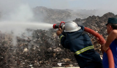 Dumpster fire in Haghtanak district burning for 5 days