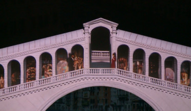 Rialto Bridge and dark-browed girl in Isahakyan museum