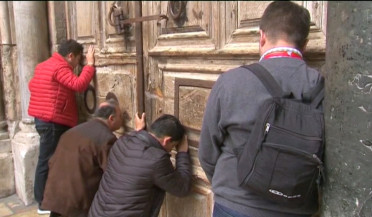 Doors of the Church of the Holy Sepulchre are closed