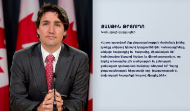 Canada PM releases statement on Armenian Genocide anniversary
