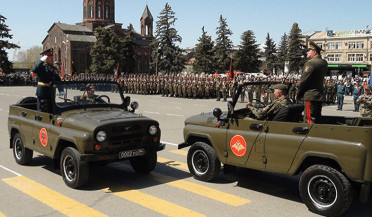 Armenian-Russian parade held in Gyumri