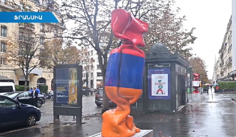Candy statue with Armenian flag colors unveiled in Paris center
